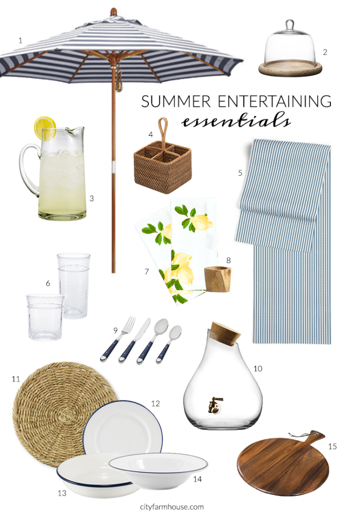 Summer Entertaining Must Haves-Indigos, Wicker & Warm Woods-City Farmhouse