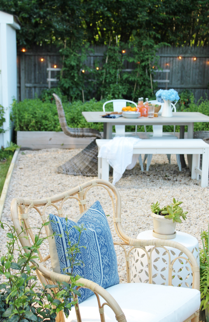 Outdoor Privacy Screen With Sherwin-Williams. DIY Pea Gravel Patio. Painted Dining Table With Wicker Chairs. Modern Rustic Privacy Screen With Baja Beige Super Deck Stain. Outdoor DIY Kitchen. Outdoor Sectional With Firepit