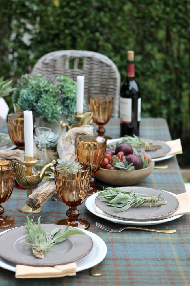 Outdoor Fall TablescapeUsing Driftwood, Herbs + Succulents
