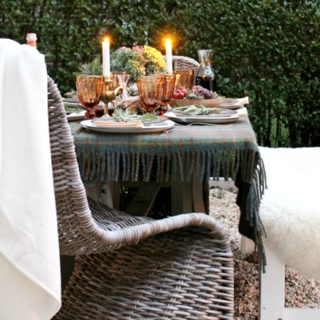 Outdoor Fall Tablescape Using Driftwood, Herbs + Succulents