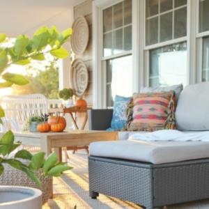 Casual Fall Front Porch With Indigo + Orange