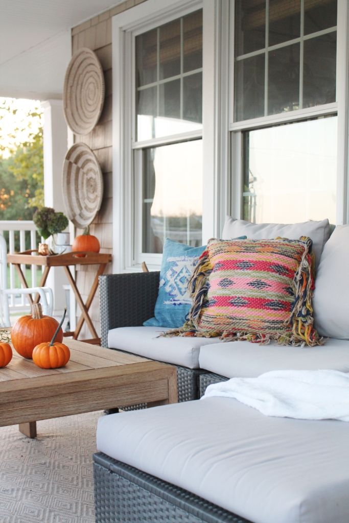 Casual Fall Front Porch With Indigo + Orange