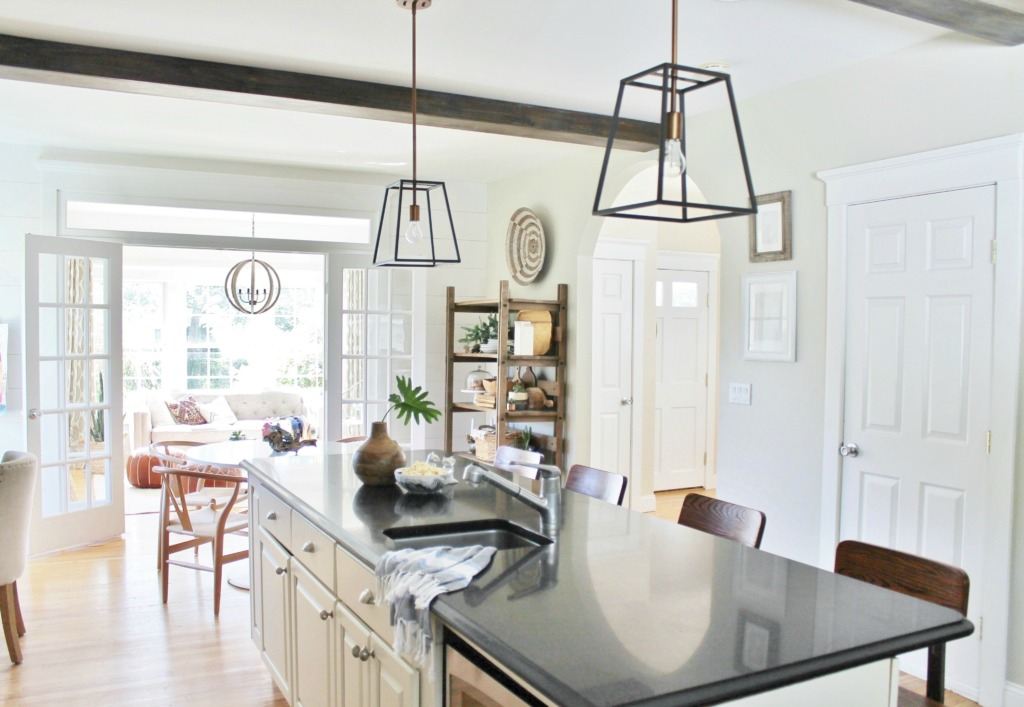 Cage Pendant Lights-Wood Beams-Kitchen Update