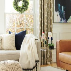 Navy + Blush Christmas Family Room Tour