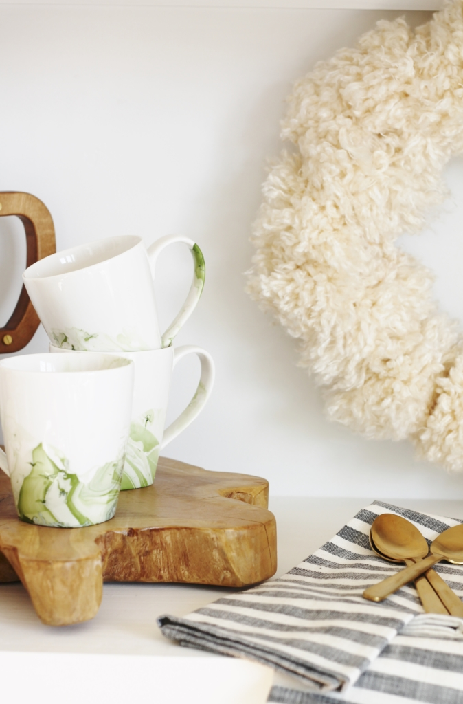 DIY Marbelized Mugs + My Rachael Ray Air Date