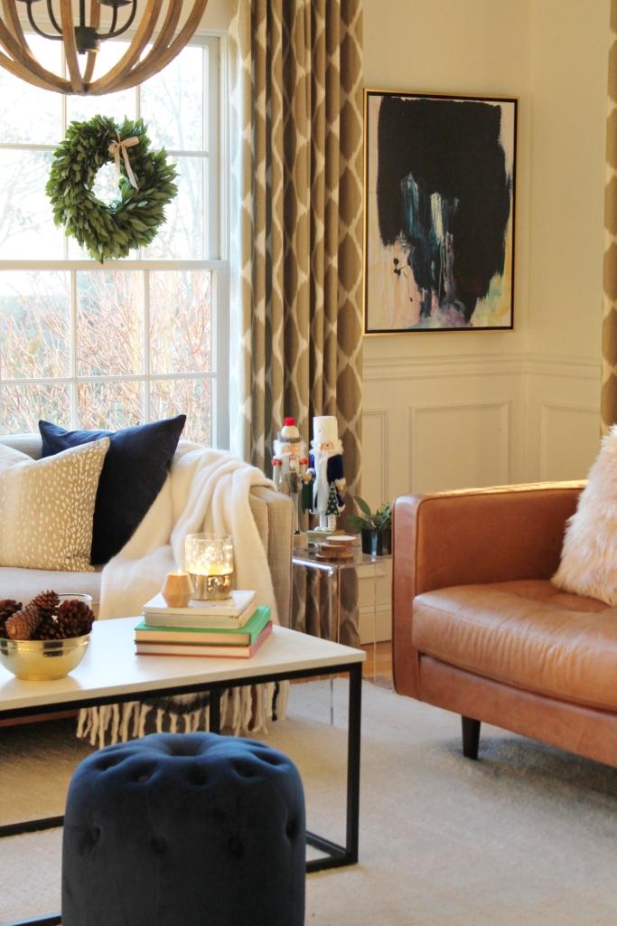 Navy + Blush Christmas Family Room Tour-City Farmhouse