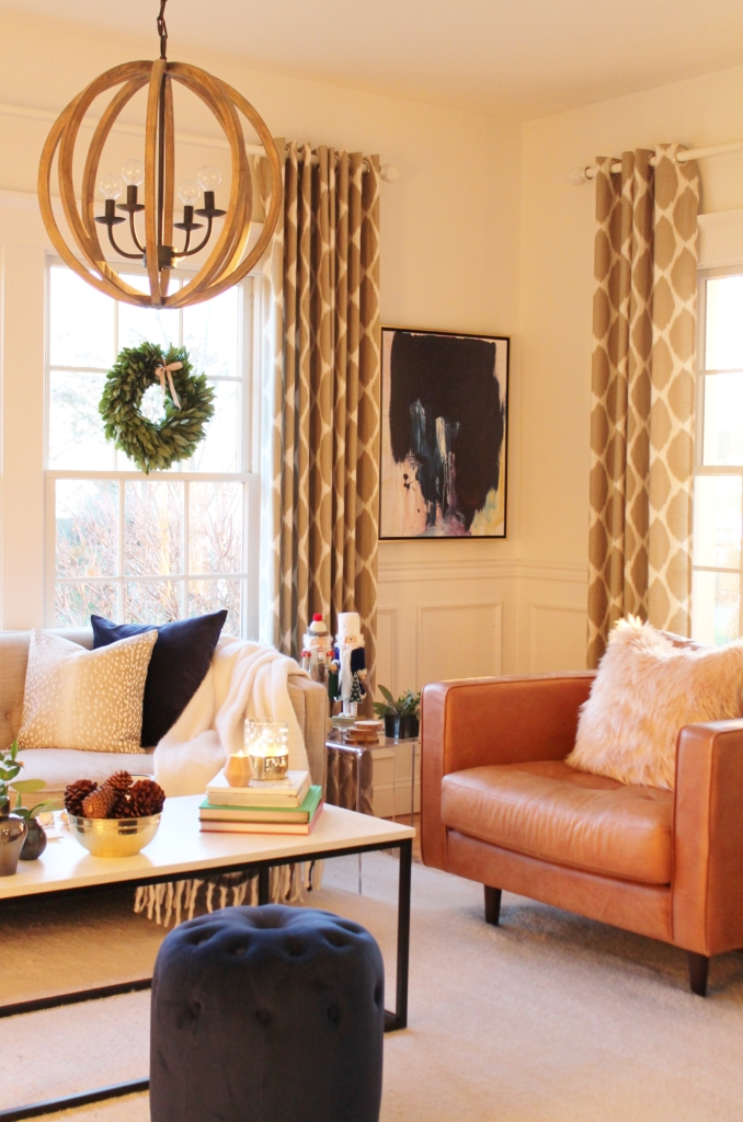 City Farmhouse Simple Sophisticated Scandinavian Christmas House Tour-Abstract Art Lindsay Letters, Built-ins, Article Sofa & Chair, Wool Rug, Marble Coffee Table, Bay Wrearths, Hot Cocoa Bar