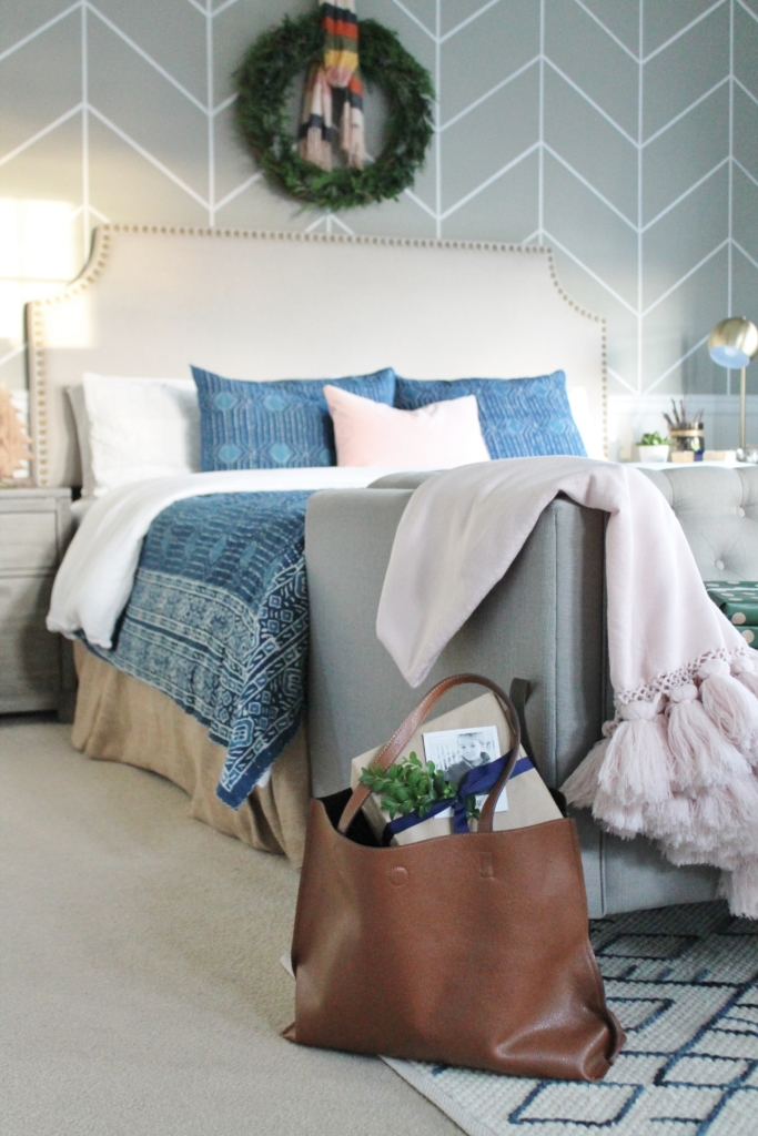 Preppy Christmas Bedroom Indigo + Blush With Plaid Accents And Fresh DIY  Green Wreath.