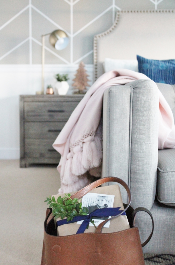 Preppy Christmas Bedroom-Indigo + Blush With Plaid Accents and Fresh DIY Green Wreath. New Side Tables From Birch Lane.