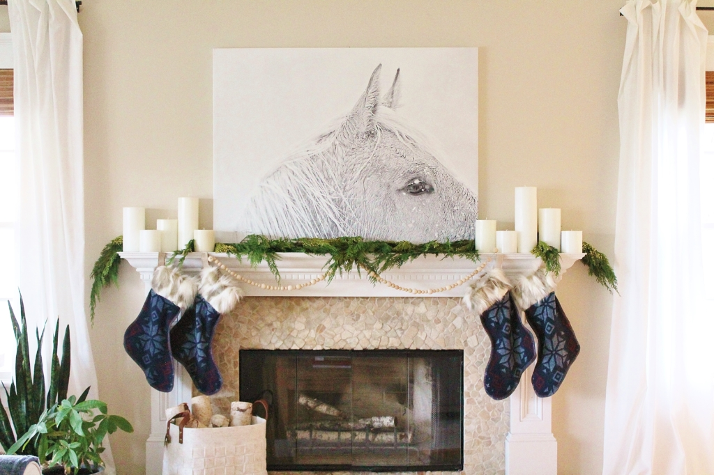 City Farmhouse Simple Sophisticated Scandinavian Christmas House Tour-Horse Print, Nordic Fur Stockings, Indigo Pillows, Leather, Knit, Deer print, Felt Basket, Mid Century Modern Chair & Linen Ikea Sectional