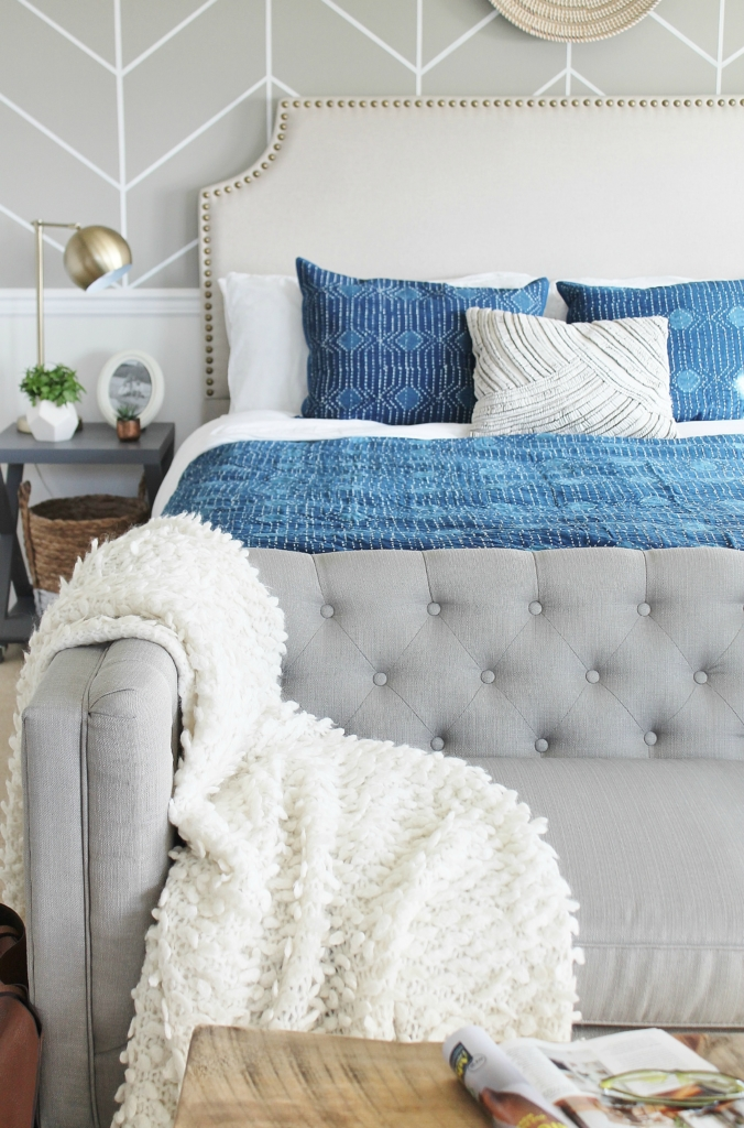 Master Bedroom Makeover Mixing It Up With Indigo Annie Selke Bedding + Rug