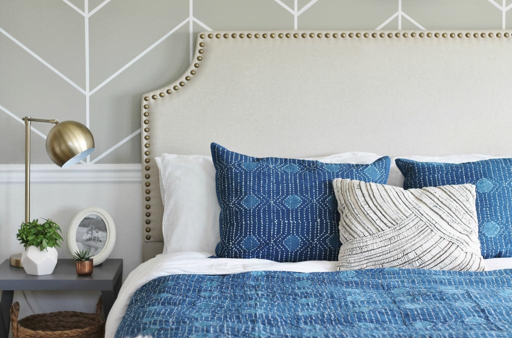 Master Bedroom Makeover-Mixing It Up With Indigo-Annie Selke Bedding + Rug-Resist Indigo Dot Bedding + Teca Dash & Albert Rug-Goa Pillow + Mara Throw-Pine Cone Hill + Dash & Albert