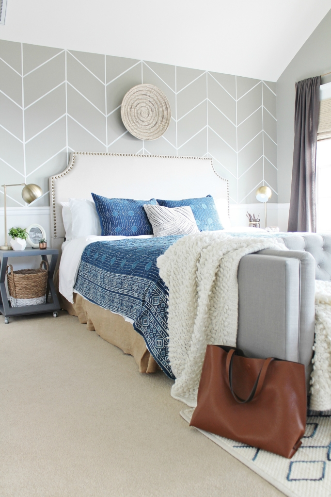 master bedroom makeover mixing it up with indigo annie selke bedding rug