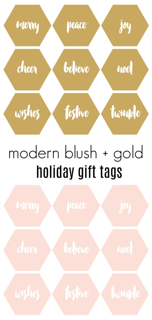 Free Printables:Modern Blush + Gold Holiday Gift Tags