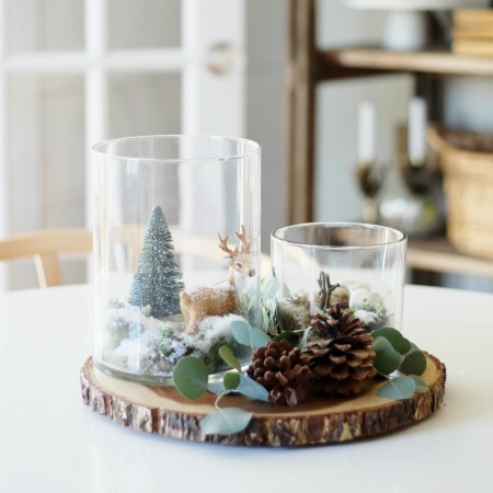 Simple Woodland Inspired Holiday Terrarium Tablescape