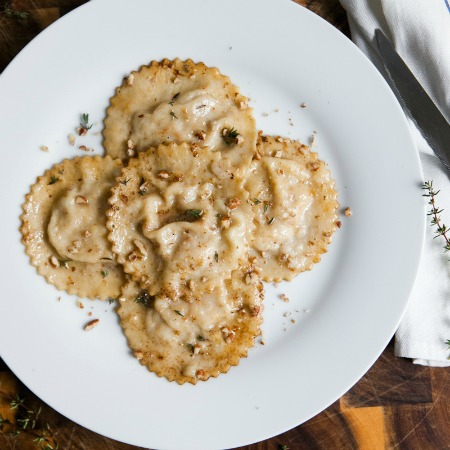 Homemade Pear + Mascarpone Ravioli with Thyme Butter Sauce