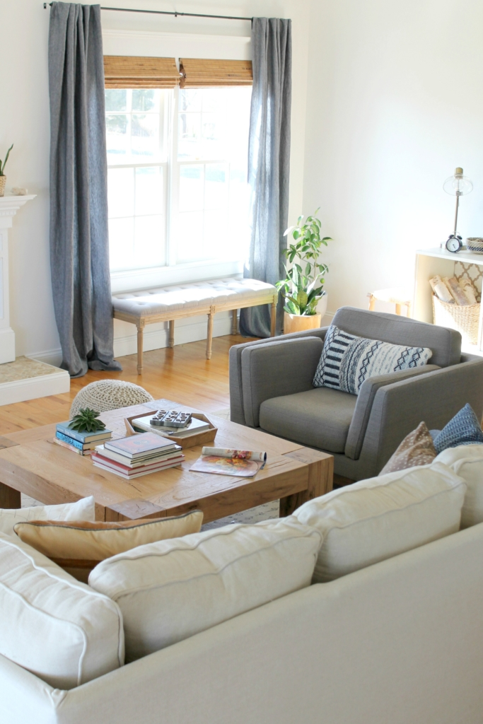Details On My White Family Room: Paint, Curtains, Art + More. Sherwin