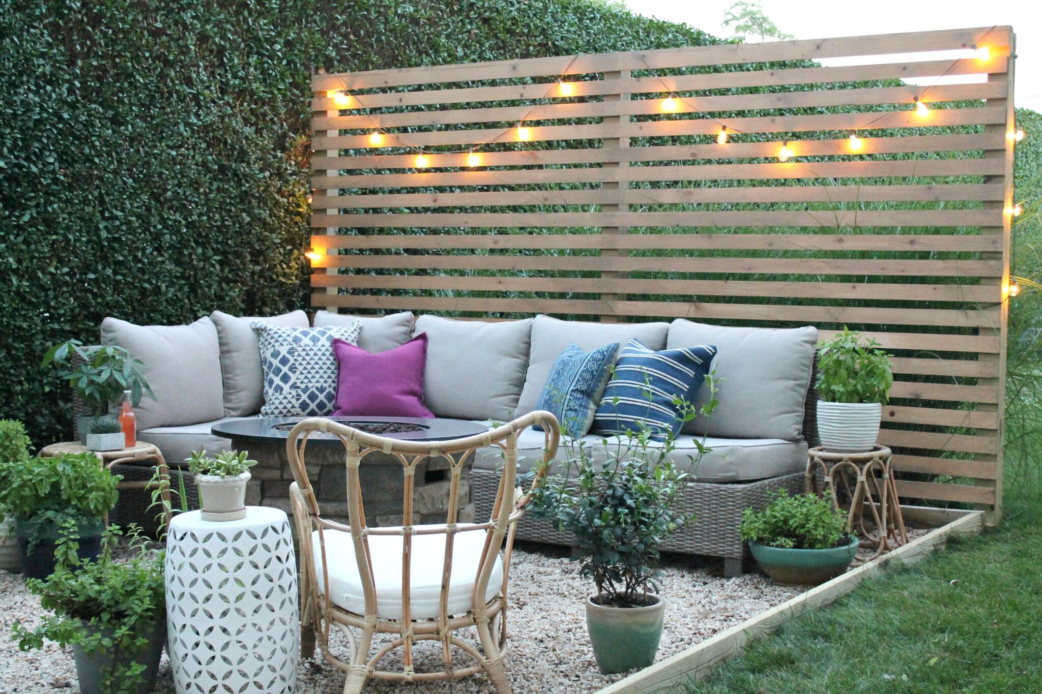 Outdoor Privacy Screen String Lights City Farmhouse