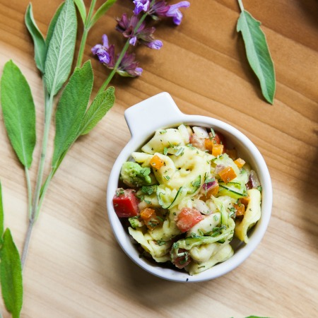 Avocado Tortellini Salad with Fresh Vegetables + Garden Sage