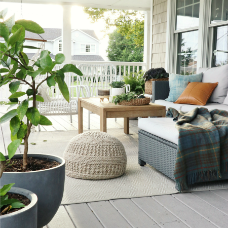 Natural + Neutral Fall Porch With Cozy Textures