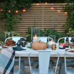 Simple Fall Outdoor Tablescape Using Jewel Tones + Ferns