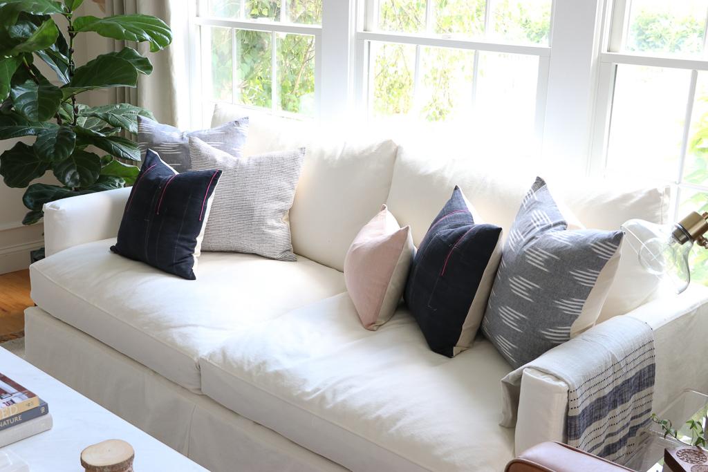 White Modern Slip-covered White Sofa