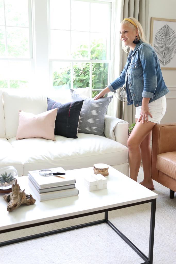 White Slipcover Sofa, Bran & Willows Drapes, Serena & Lily Santa Barbara Pendant