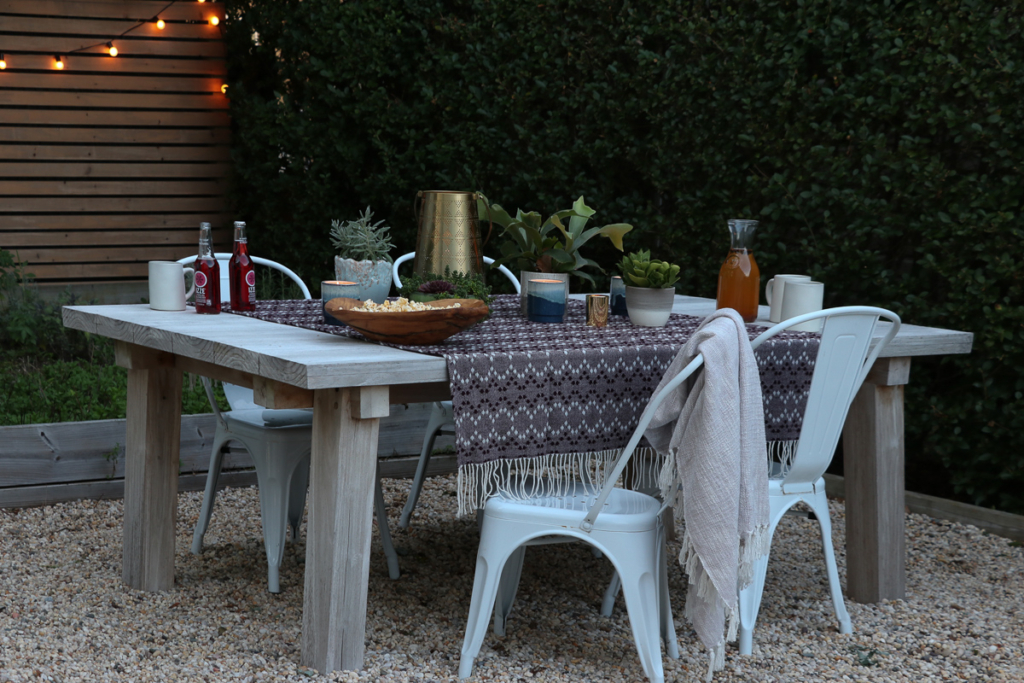 Outdoor table set in the garden for fall