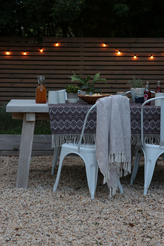 Outdoor Fall Table. Use throw for a table cover