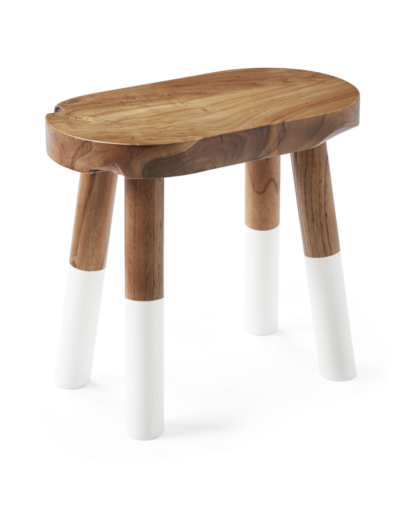 Dip-Dyed Oval Stool White. Serena & Lily
